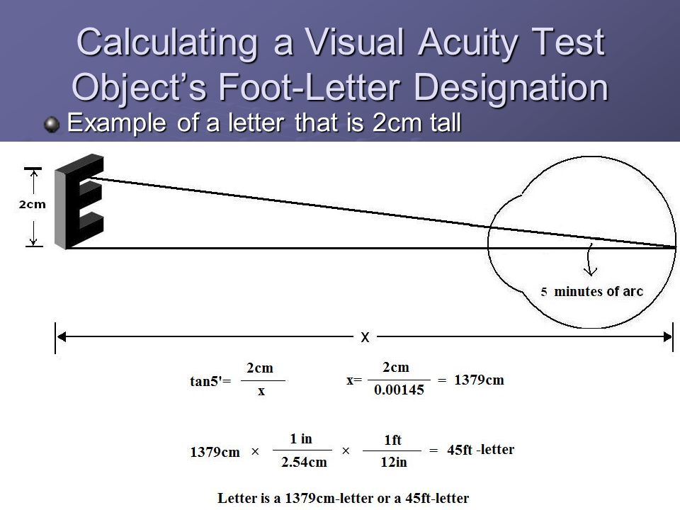 Calculating a Visual Acuity Test Object's Foot-Letter Designation