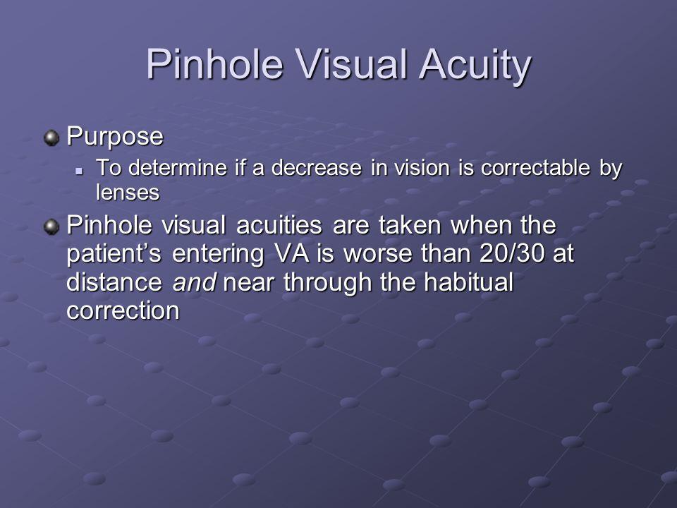 Pinhole Visual Acuity Purpose
