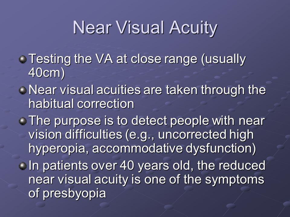 Near Visual Acuity Testing the VA at close range (usually 40cm)