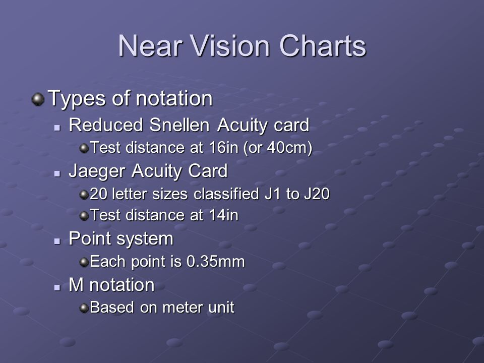 Near Vision Charts Types of notation Reduced Snellen Acuity card