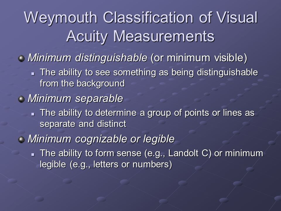 Weymouth Classification of Visual Acuity Measurements