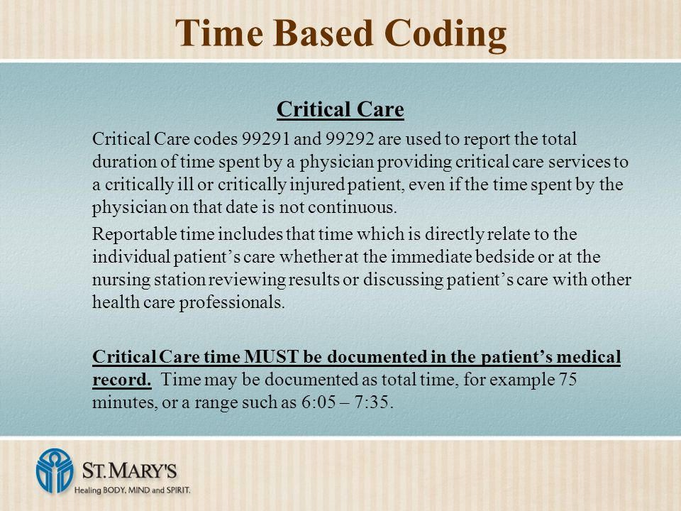 Time Based Coding Critical Care
