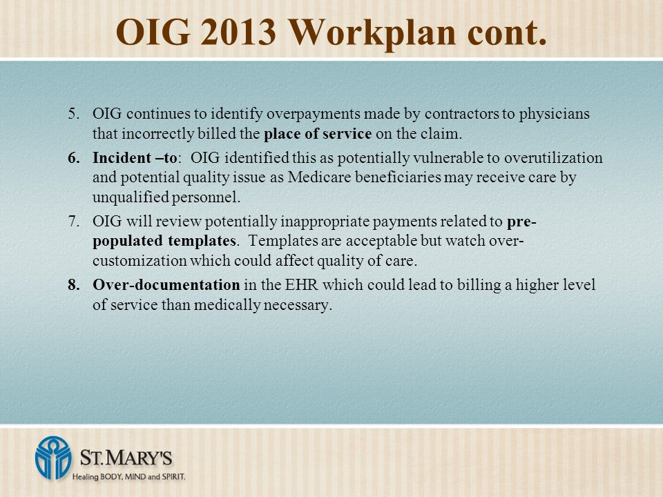 OIG 2013 Workplan cont.