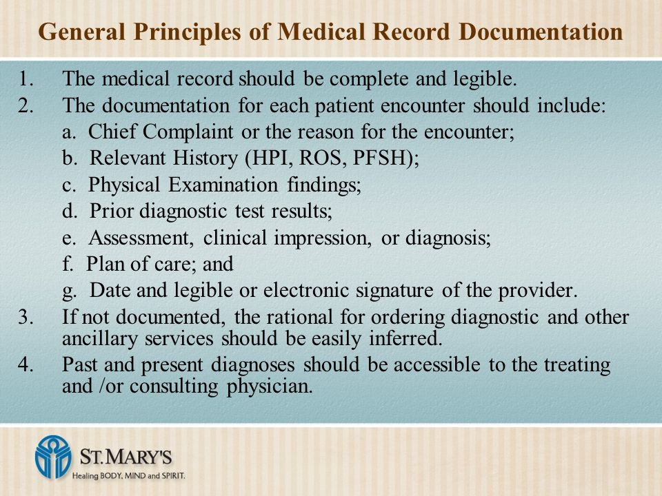 General Principles of Medical Record Documentation