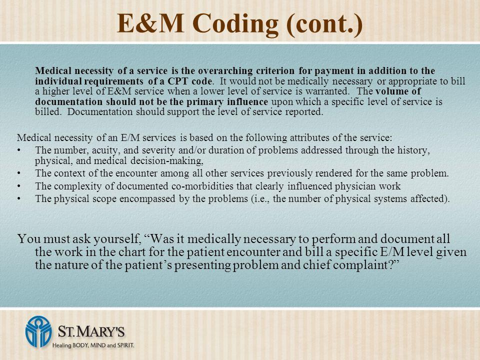 E&M Coding (cont.)