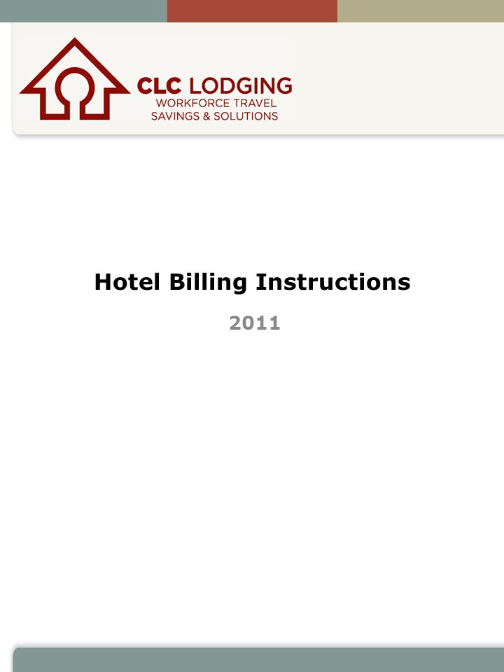 Hotel Billing Instructions