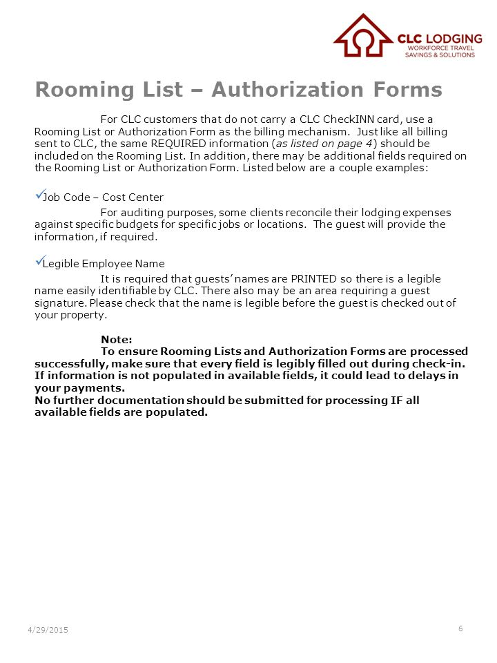 Rooming List – Authorization Forms