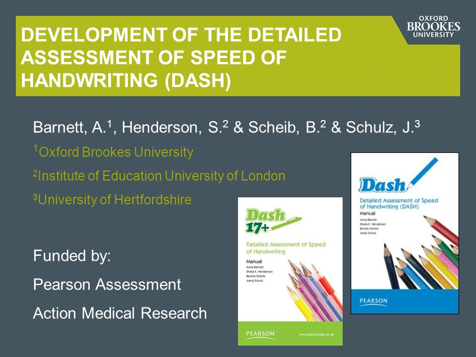 Development of the Detailed Assessment of Speed of Handwriting (DASH)