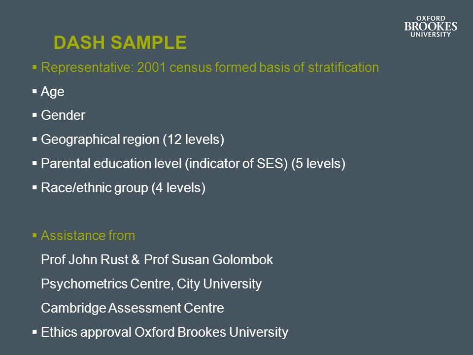 DASH Sample Representative: 2001 census formed basis of stratification