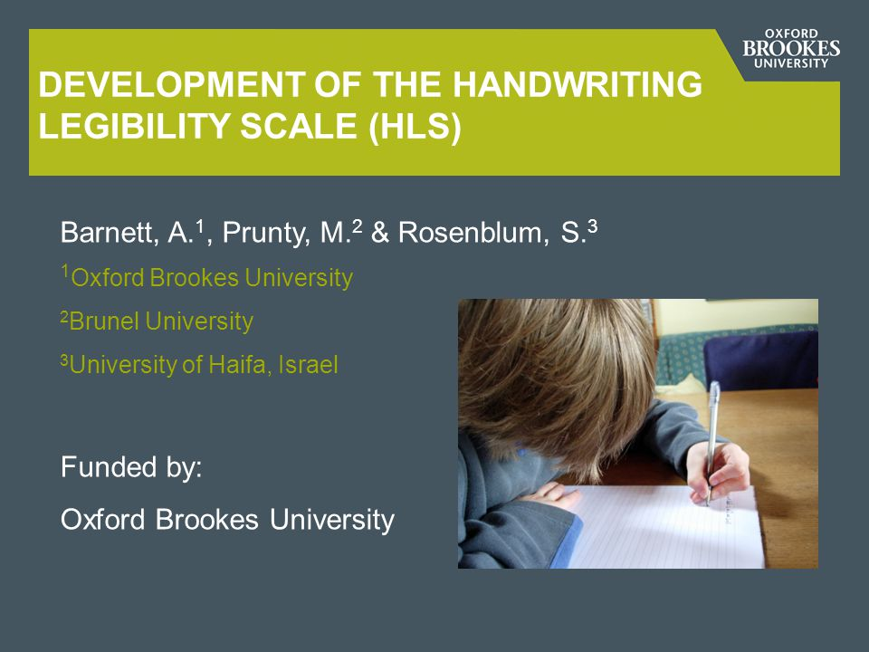 Development of the Handwriting legibility scale (HLS)