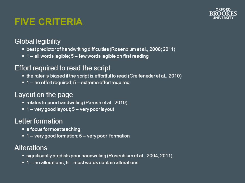Five criteria Global legibility Effort required to read the script