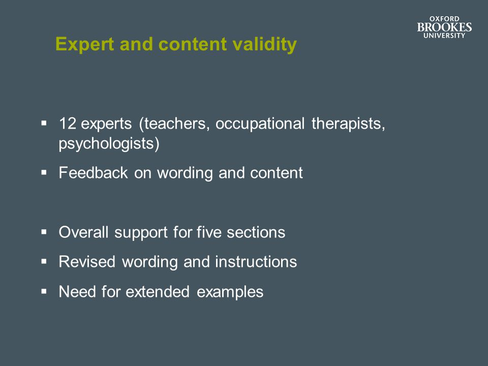 Expert and content validity