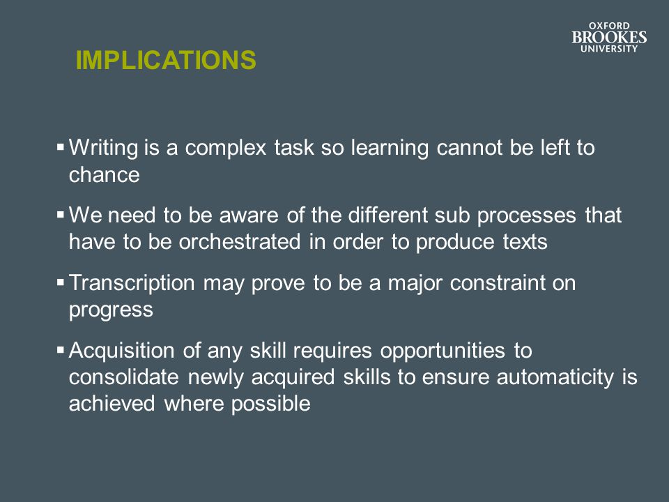 Implications Writing is a complex task so learning cannot be left to chance.