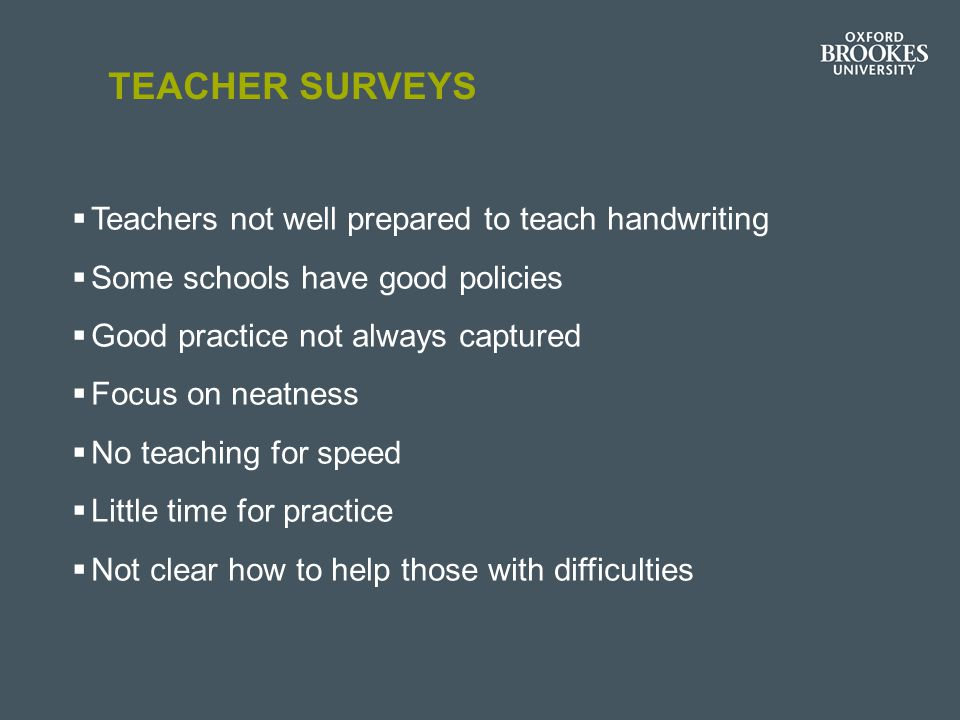 Teacher surveys Teachers not well prepared to teach handwriting