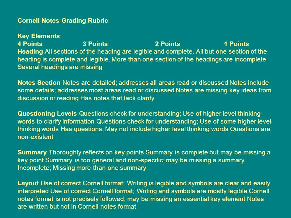 Cornell Notes Grading Rubric Key Elements 4 Points 3 Points 2 Points 1 Points Heading All sections of the heading are legible and complete.