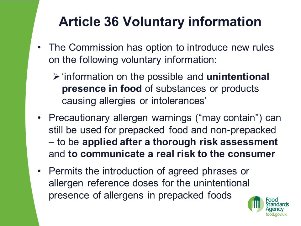 Article 36 Voluntary information