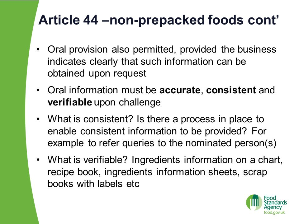 Article 44 –non-prepacked foods cont'