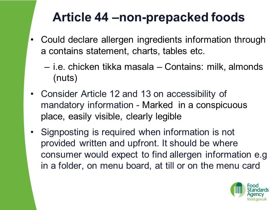 Article 44 –non-prepacked foods