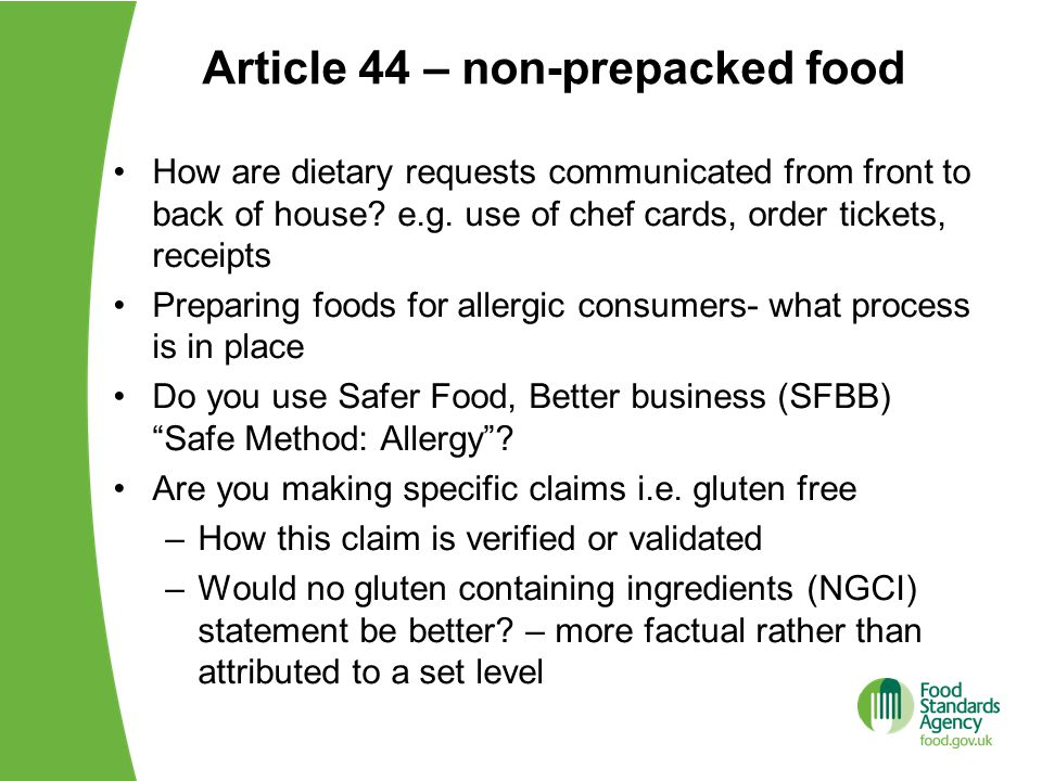 Understanding the new food allergen rules ppt video online download article 44 non prepacked food forumfinder Image collections