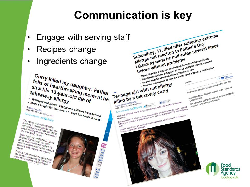 Communication is key Engage with serving staff Recipes change
