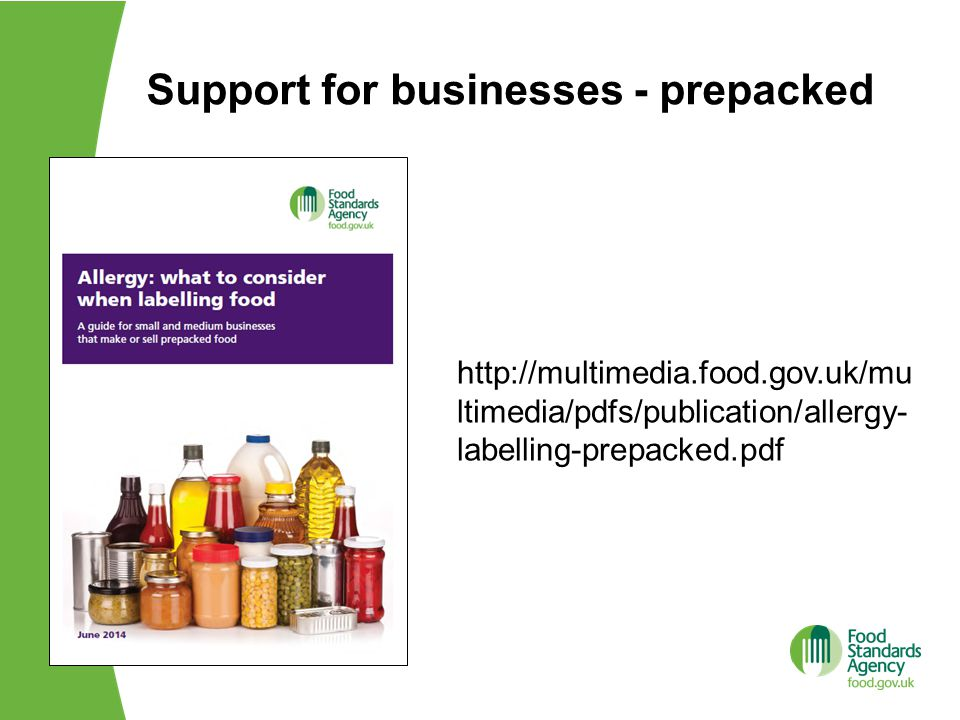 Support for businesses - prepacked