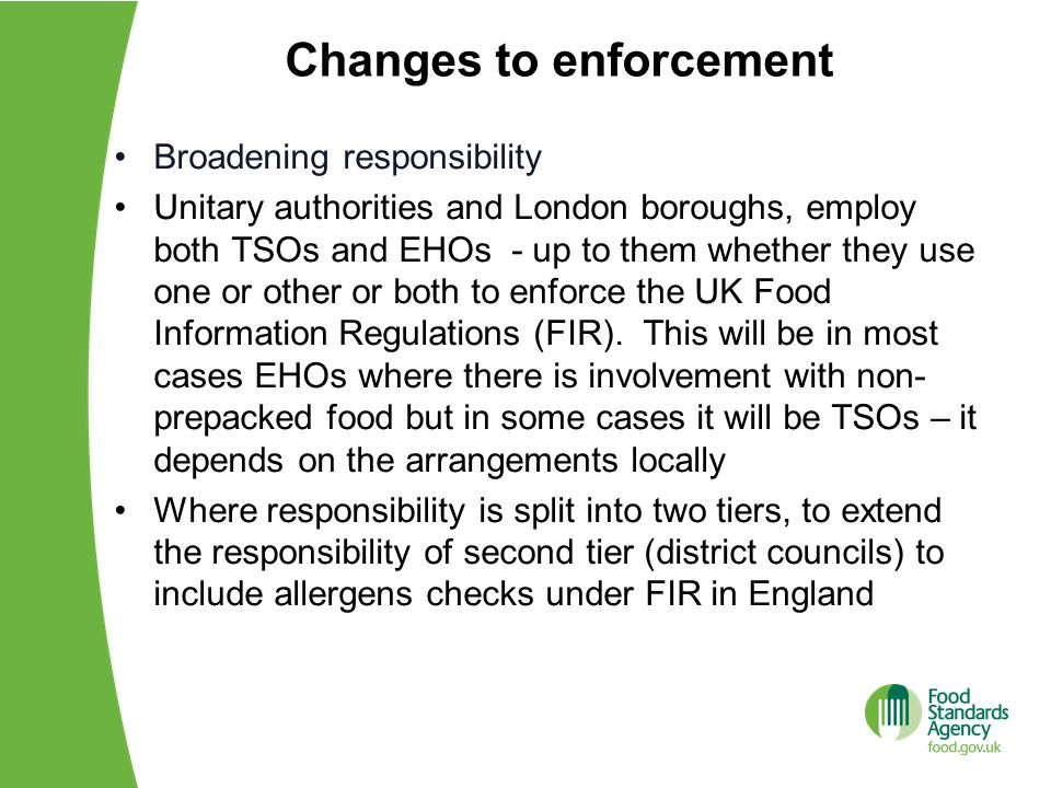 Changes to enforcement