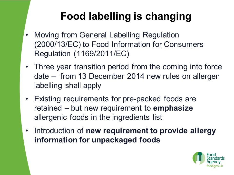 Food labelling is changing