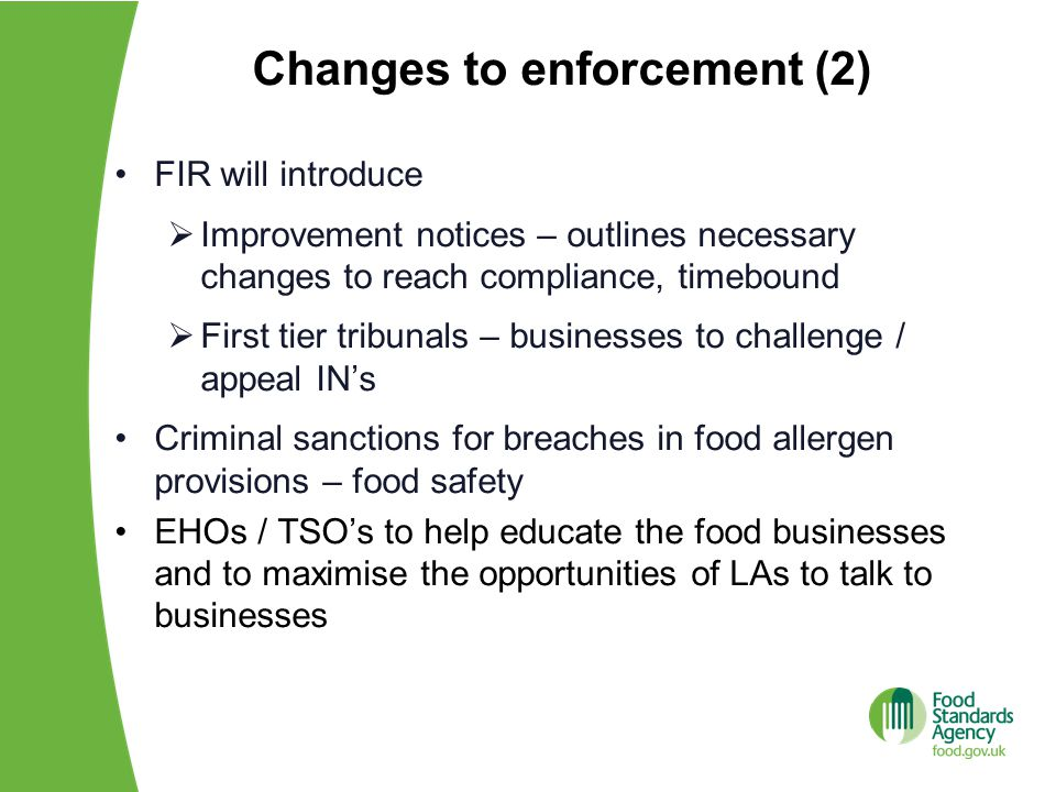 Changes to enforcement (2)