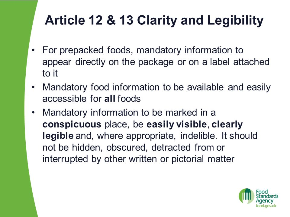 Article 12 & 13 Clarity and Legibility
