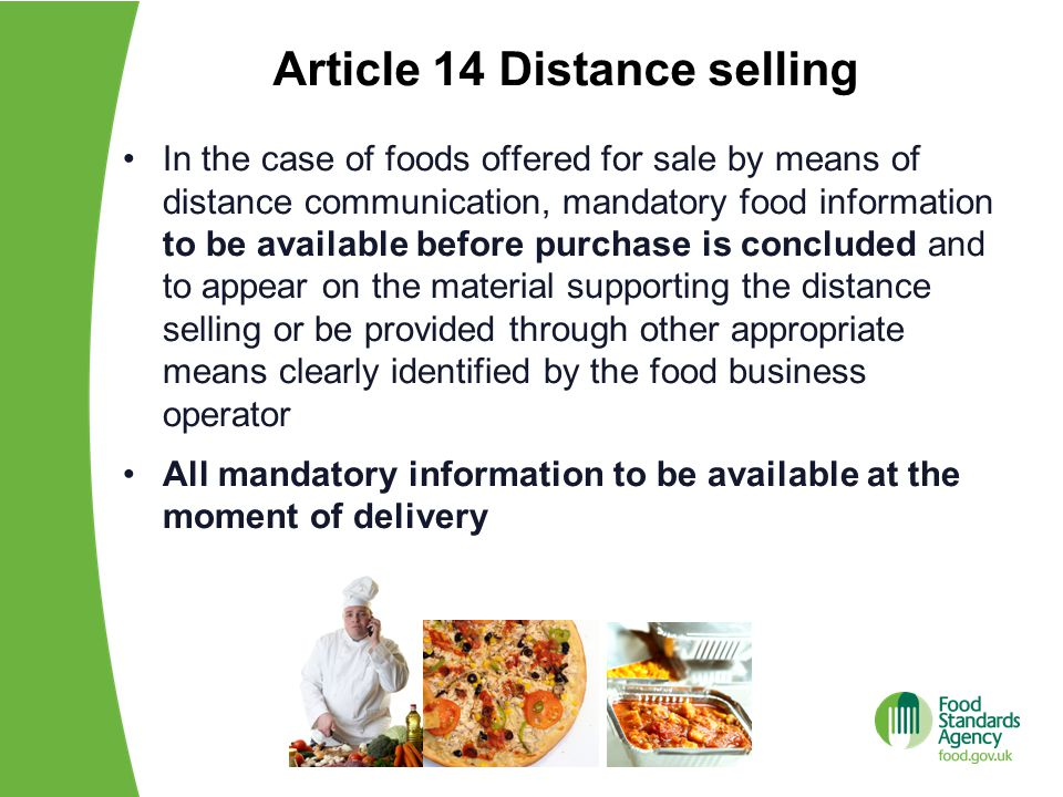 Article 14 Distance selling