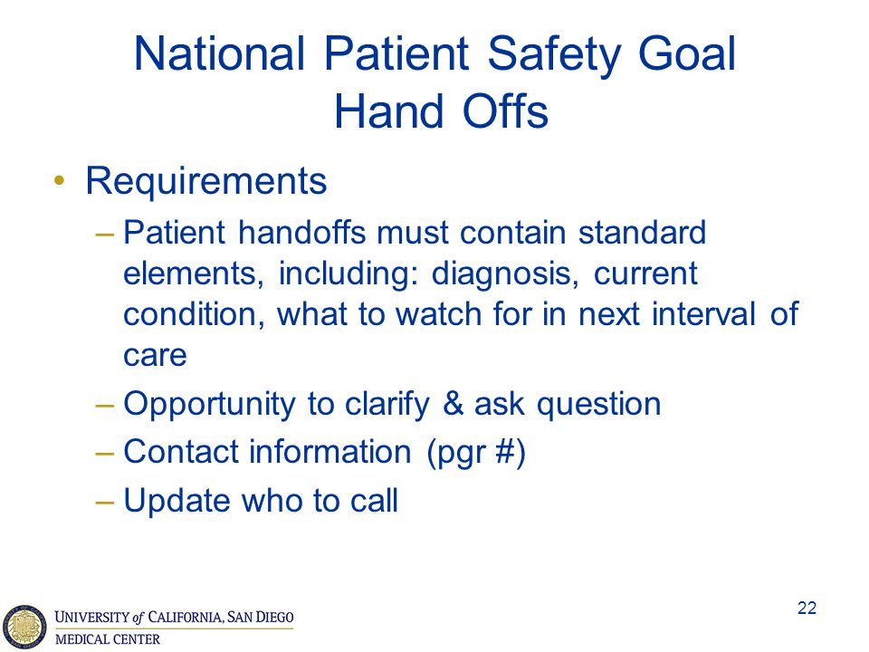 National Patient Safety Goal Hand Offs