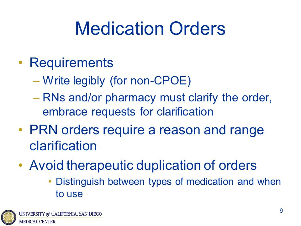 Medication Orders Requirements