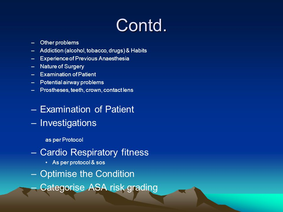 Contd. as per Protocol Investigations Cardio Respiratory fitness
