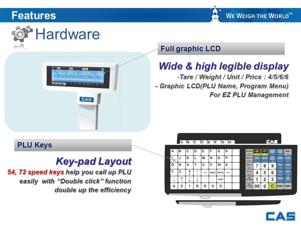 Hardware Features Wide & high legible display Key-pad Layout