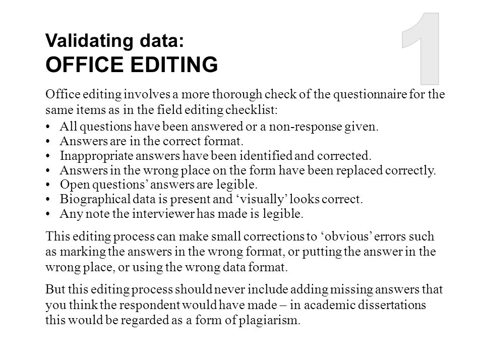 1 OFFICE EDITING Validating data: