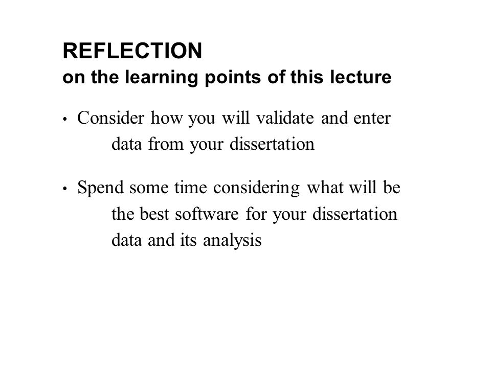 REFLECTION on the learning points of this lecture