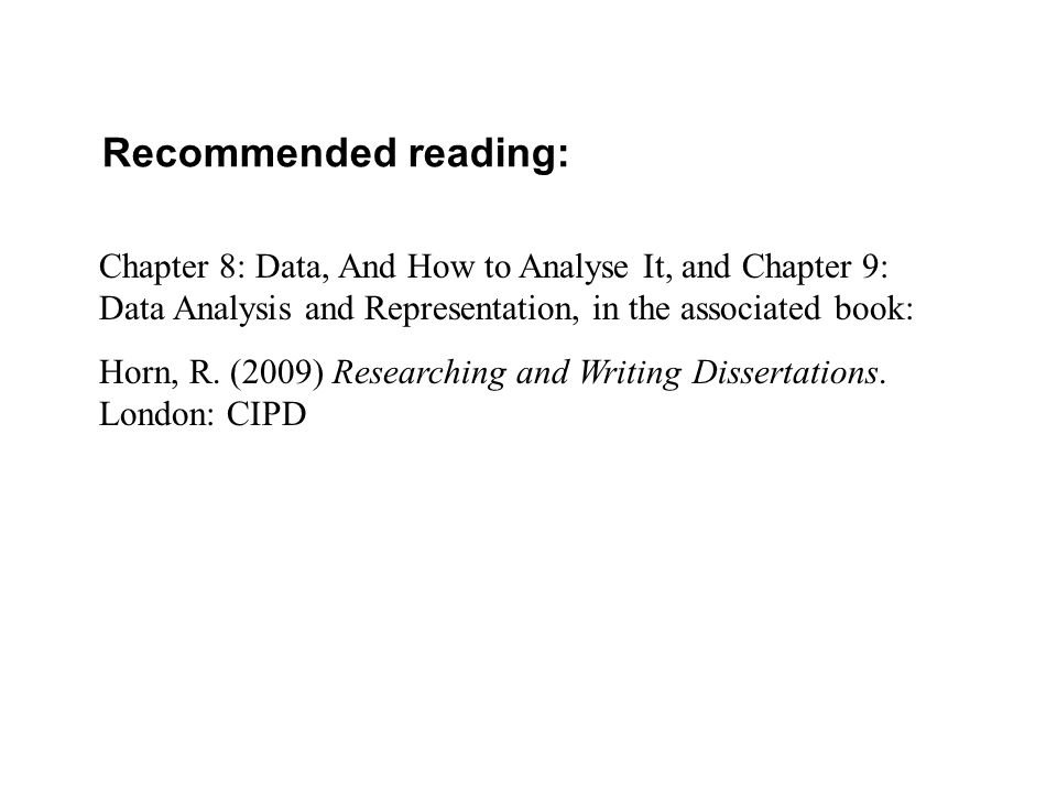 Recommended reading: Chapter 8: Data, And How to Analyse It, and Chapter 9: Data Analysis and Representation, in the associated book: