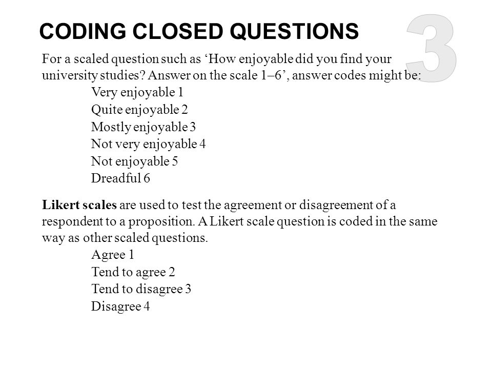 3 CODING CLOSED QUESTIONS