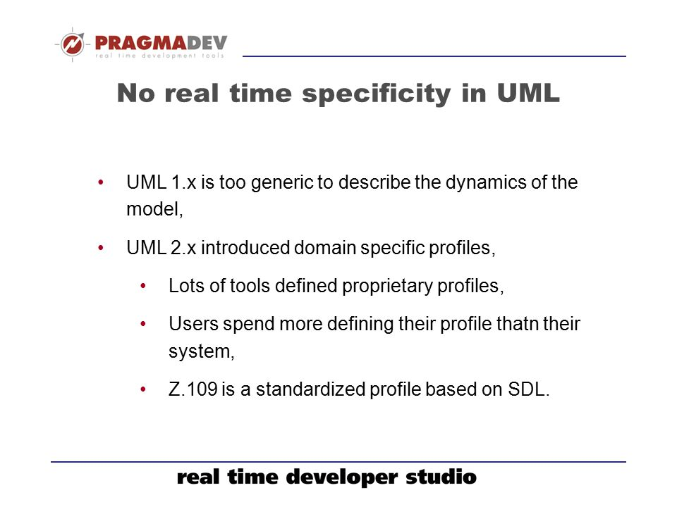 No real time specificity in UML