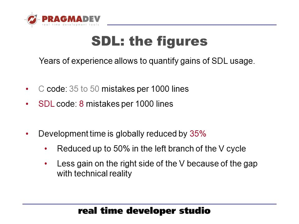 Years of experience allows to quantify gains of SDL usage.