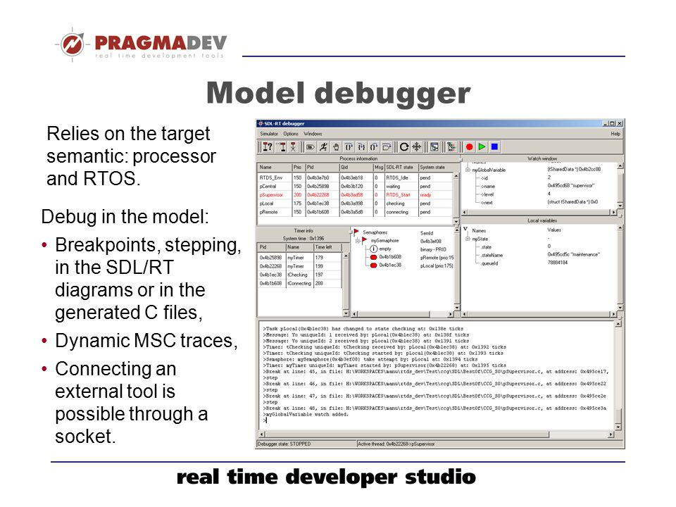 Model debugger Relies on the target semantic: processor and RTOS.