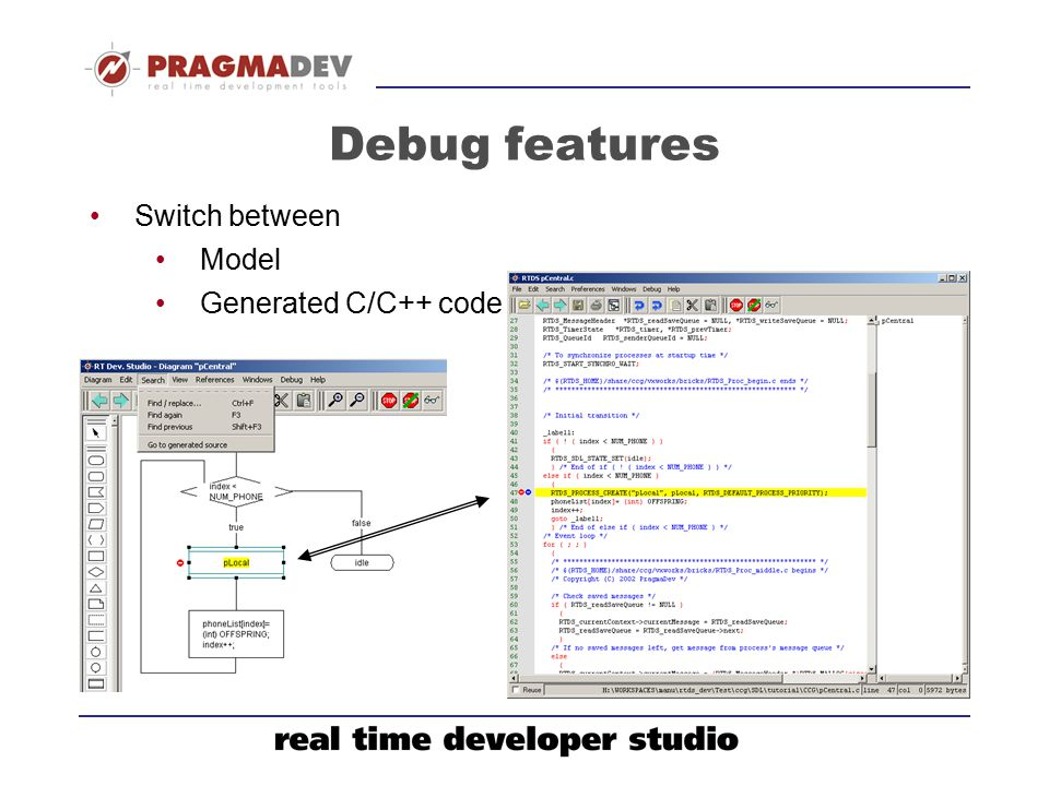 Debug features Switch between Model Generated C/C++ code