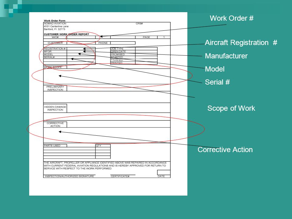 Work Order # Aircraft Registration # Manufacturer Model Serial # Scope of Work Corrective Action