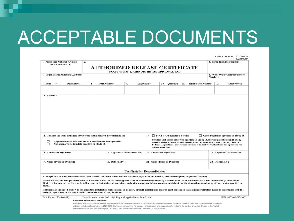 ACCEPTABLE DOCUMENTS