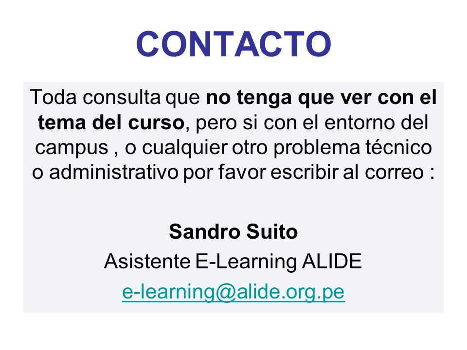 Asistente E-Learning ALIDE