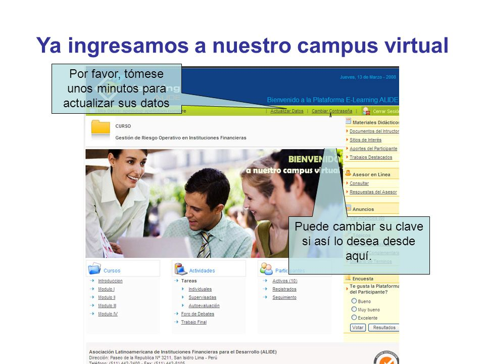 Ya ingresamos a nuestro campus virtual