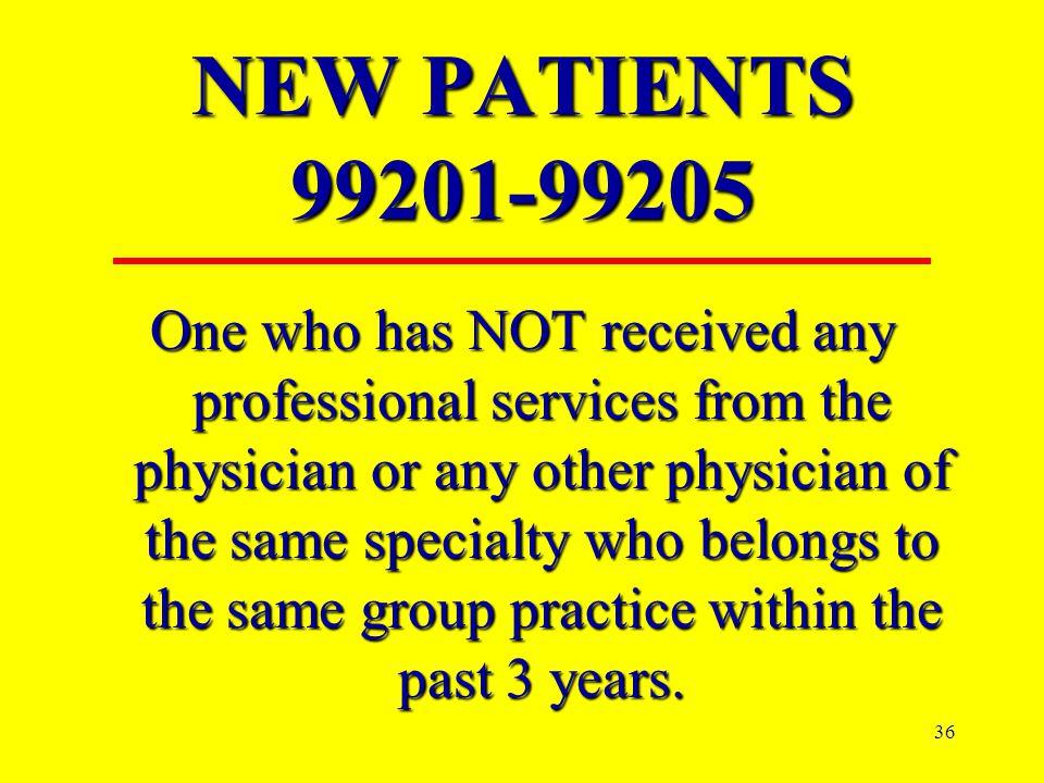 NEW PATIENTS 99201-99205