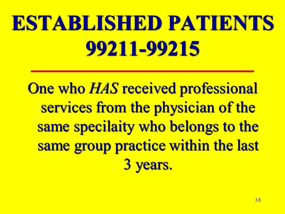 ESTABLISHED PATIENTS 99211-99215