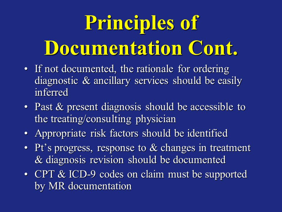 Principles of Documentation Cont.