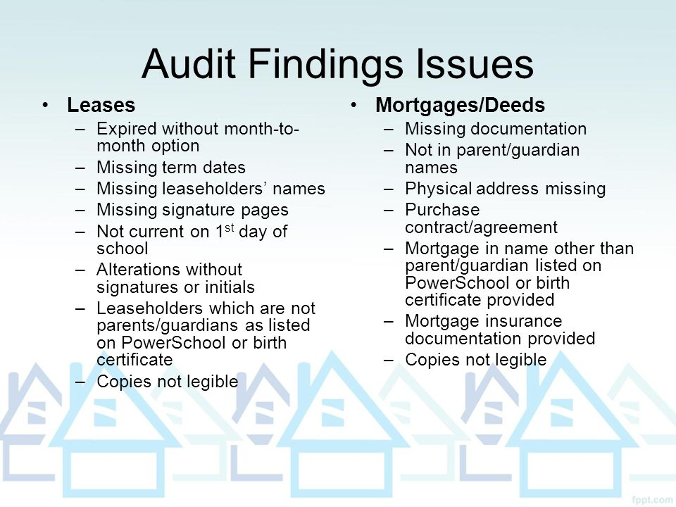 Audit Findings Issues Leases Mortgages/Deeds
